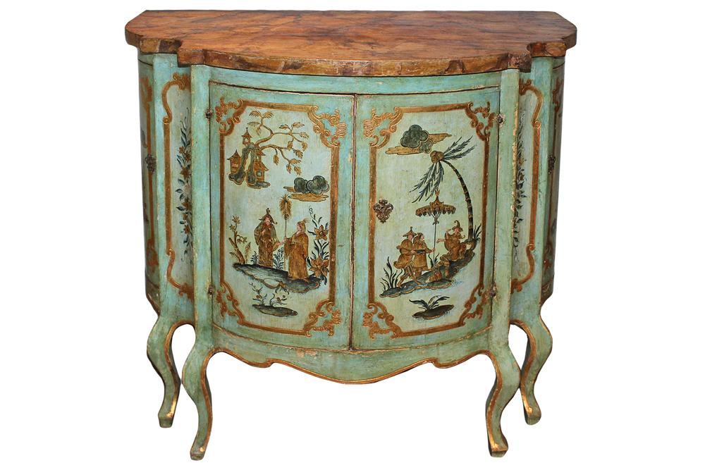 An 18th Century Venetian Bombé Polychrome and Parcel-Gilt Cabinet No. 3426