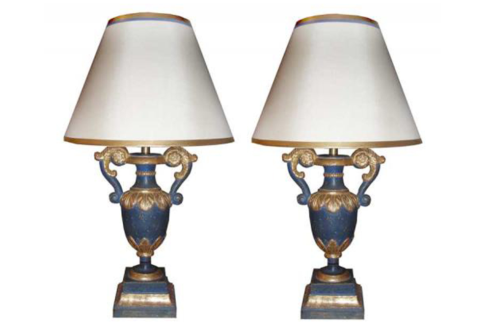 A Pair of Venetian Parcel-Gilt and Polychrome Baroque Style Urn Lamps No. 3436