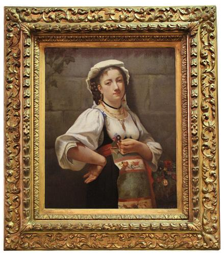 "An 18th Century Italian Oil on Canvas, Entitled ""Misteriosa Fanciulla"" No. 4351"