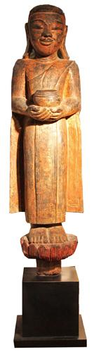 A 17th Century Giltwood and Polychrome Burmese Statue of a Monk No. 4366