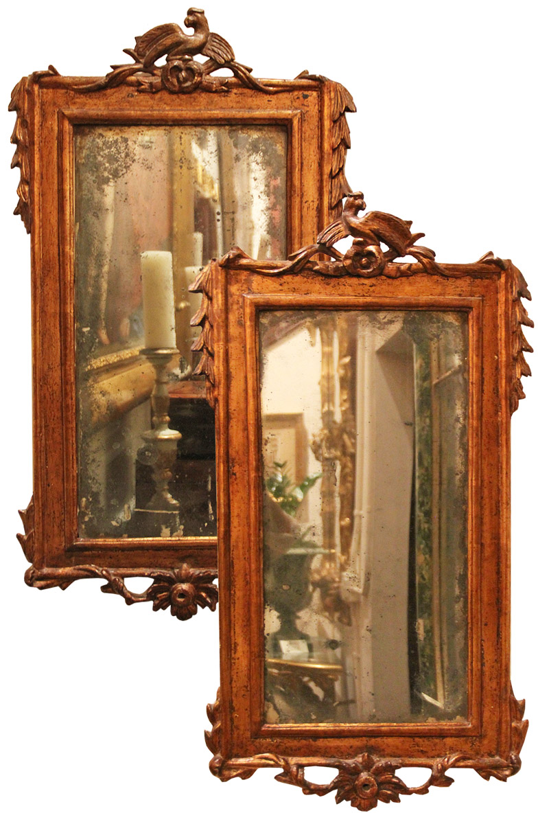 A Pair of 18th Century Italian Giltwood Mirrors No. 3473