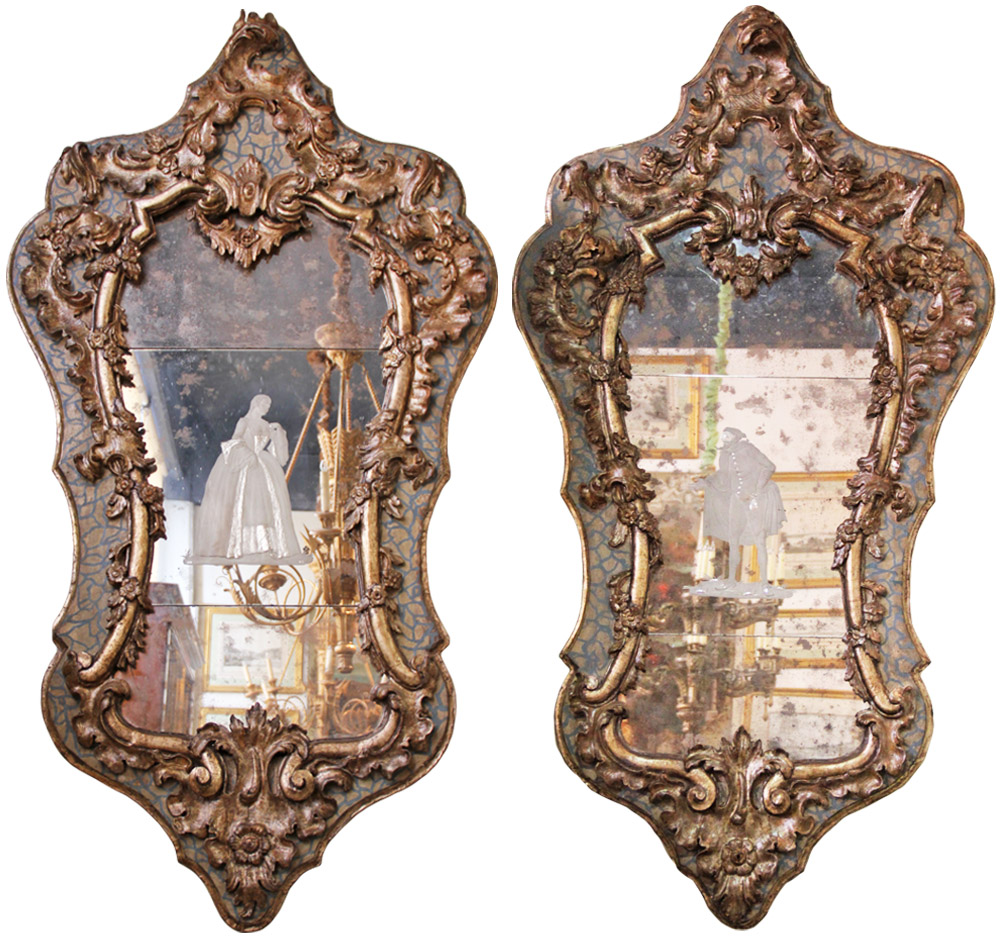 An Important Pair of Early 18th Century Giltwood and Polychrome Venetian Mirrors No. 3481