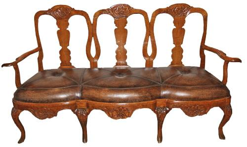 An 18th Century Dutch Queen Anne Walnut Settee No. 4166