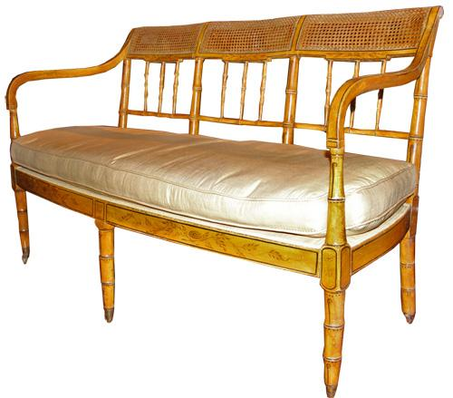 A 19th Century Quintessentially English Regency (Circa 1830) Caned Polychrome and Faux Bamboo Settee No. 4400