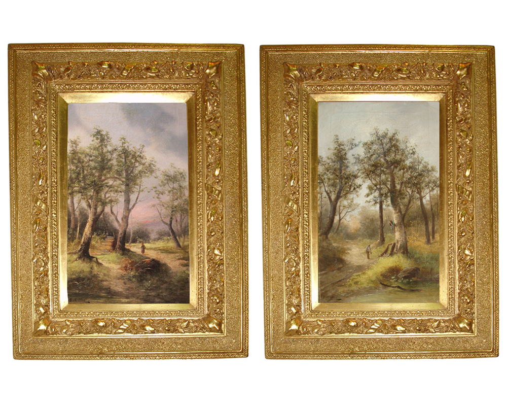 A Pair of of 19th Century English Oil on Canvas Landscape Paintings No. 3545