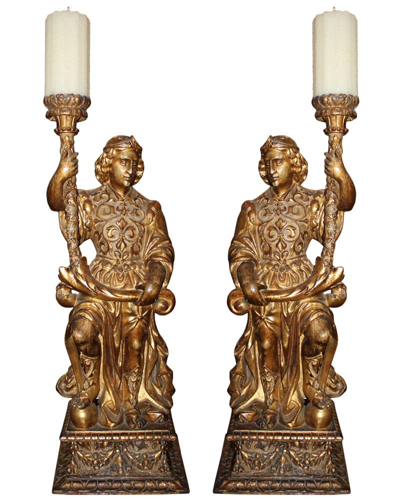 A Resplendent Pair of 18th Century Italian Giltwood Archangel Torchères 3585