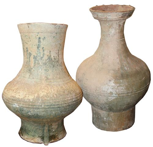 Two Chinese Han Dynasty Glazed Earthenware Jars No. 4504