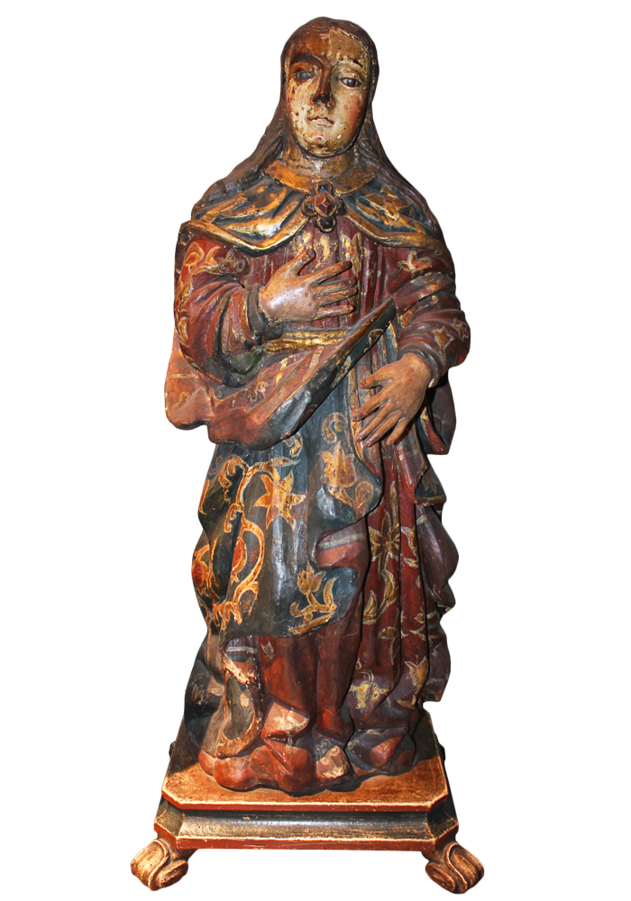 An Early 18th Century Carved Wood Polychrome and Parcel-Gilt Figurine No. 3599