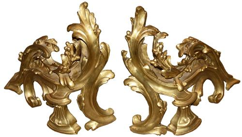 A Pair of 19th Century French Louis XV Bronze Doré Chenets (Andirons) No. 4499