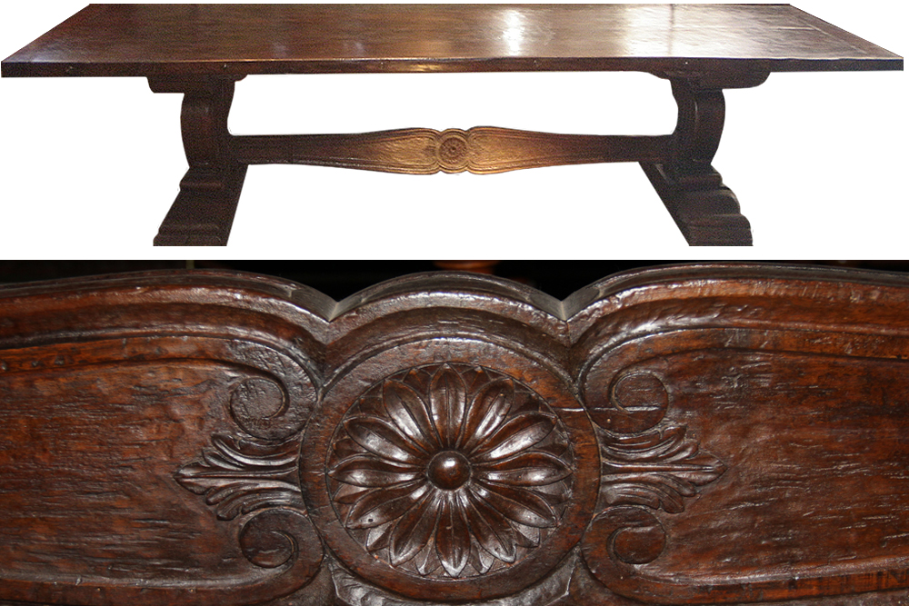 A Magnificent Palazzo-Scaled 17th Century Florentine Walnut Fratino Table No. 3624