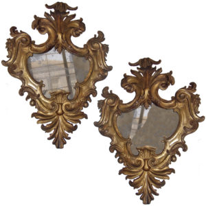 A Pair of 18th Century Florentine Baroque Giltwood Mirrors No. 3635