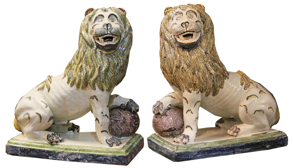 A Pair of 18th Century Angouleme Faience Seated Lions No. 3651
