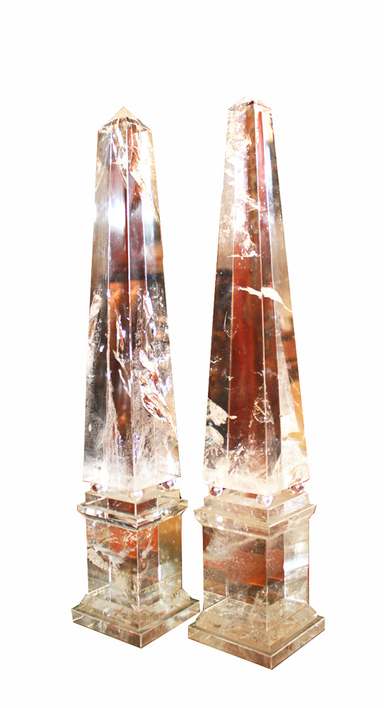 A Harlequin Pair of Rock Crystal Obelisks No. 3659