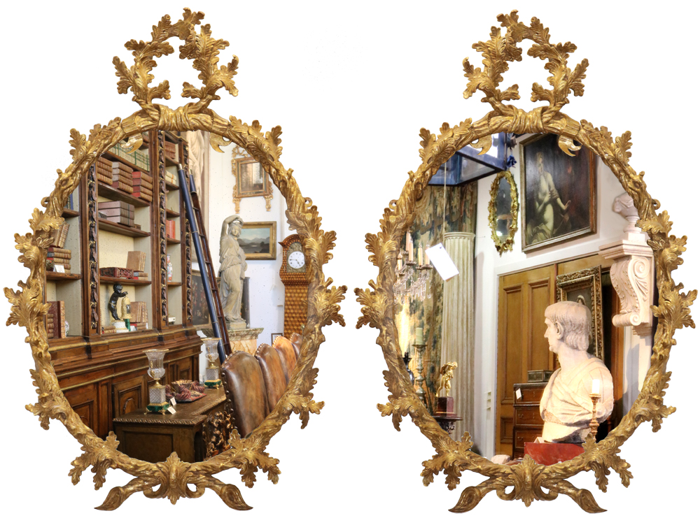 A Pair of 18th Century English Giltwood Oval Mirrors No. 3726