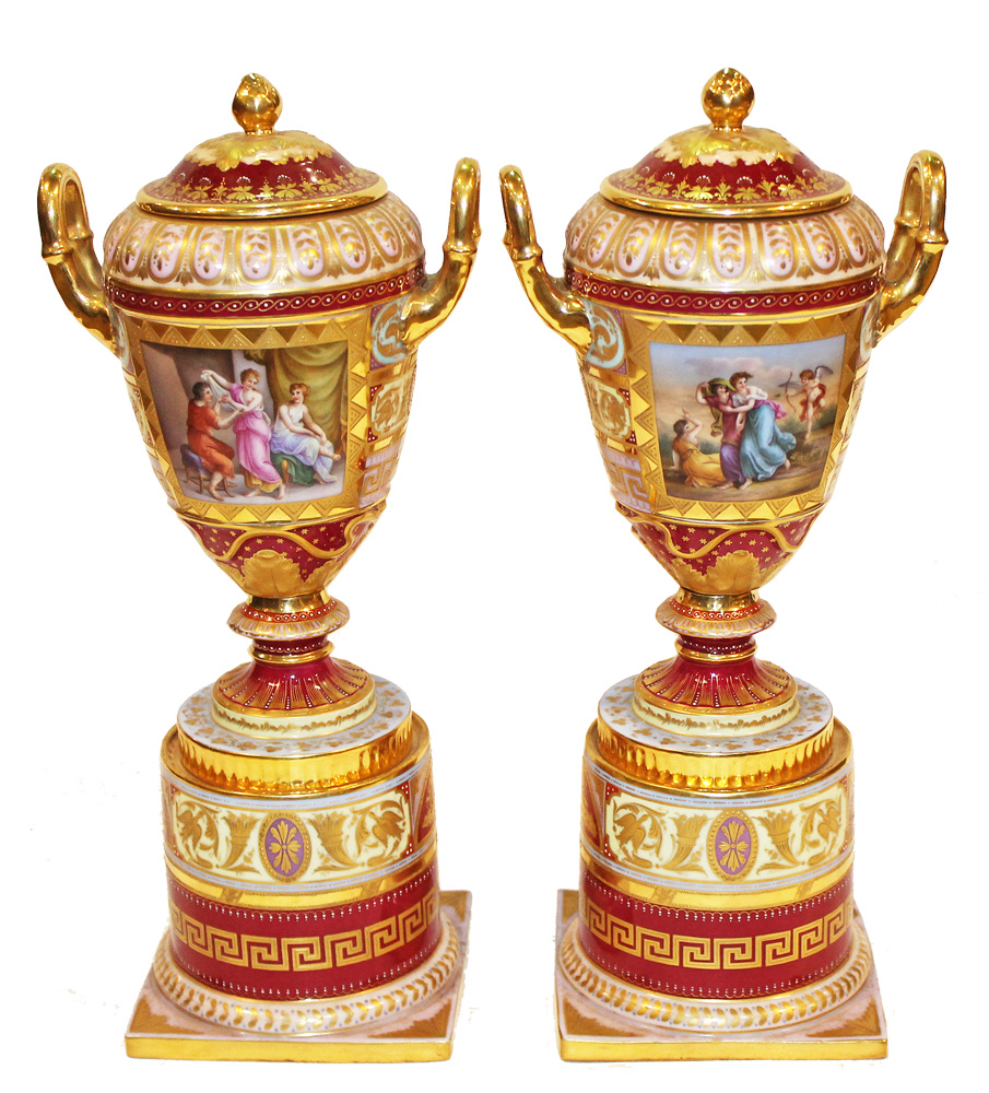 A 19th Century Pair of Hand-Painted Royal Vienna Porcelain Lidded Urns No. 3777