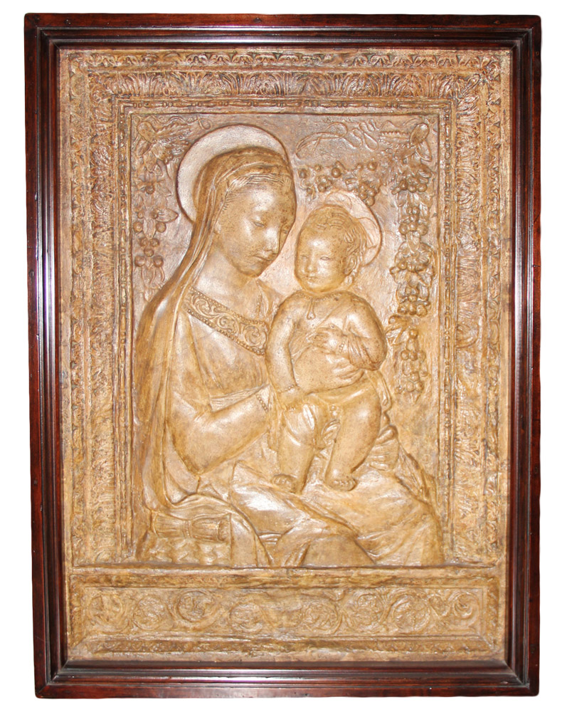 A 19th Century Terra Cotta Madonna and Child Wall Plaque No. 3798