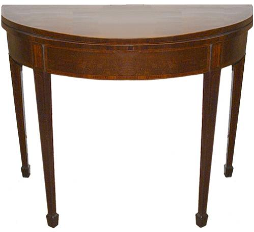A First Quarter 19th Century Mahogany Demilune Folding Games Table No. 72