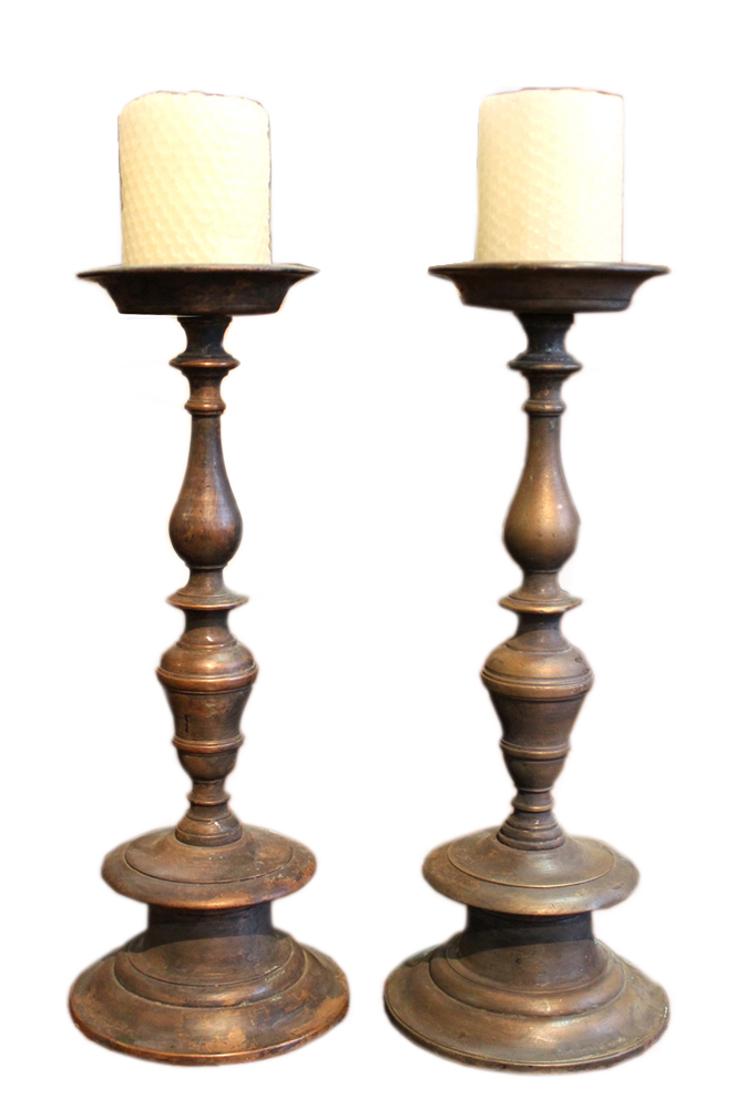 A 17th Century Diminutive Pair of Italian Brass Candlesticks No. 3877