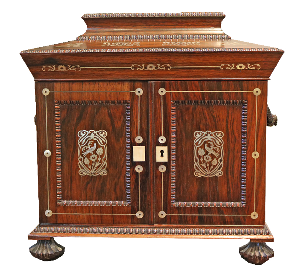 A 19th Century English Rosewood Valuables and Jewelry Travel Box No. 3882