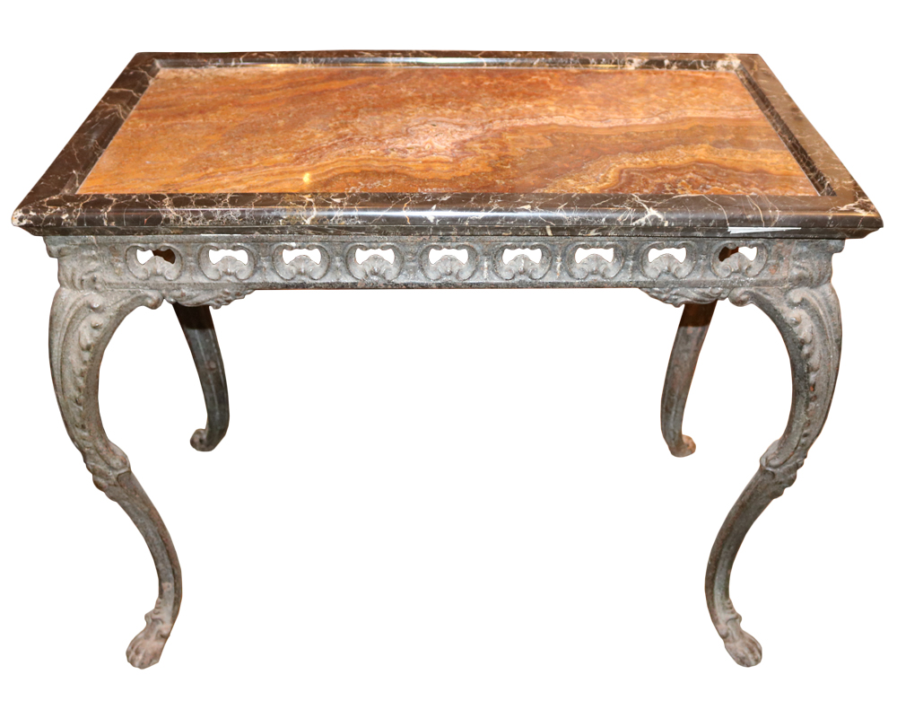 An Unusual 18th Century Italian Cast Iron Table with an Onyx and Marble Top No. 3894