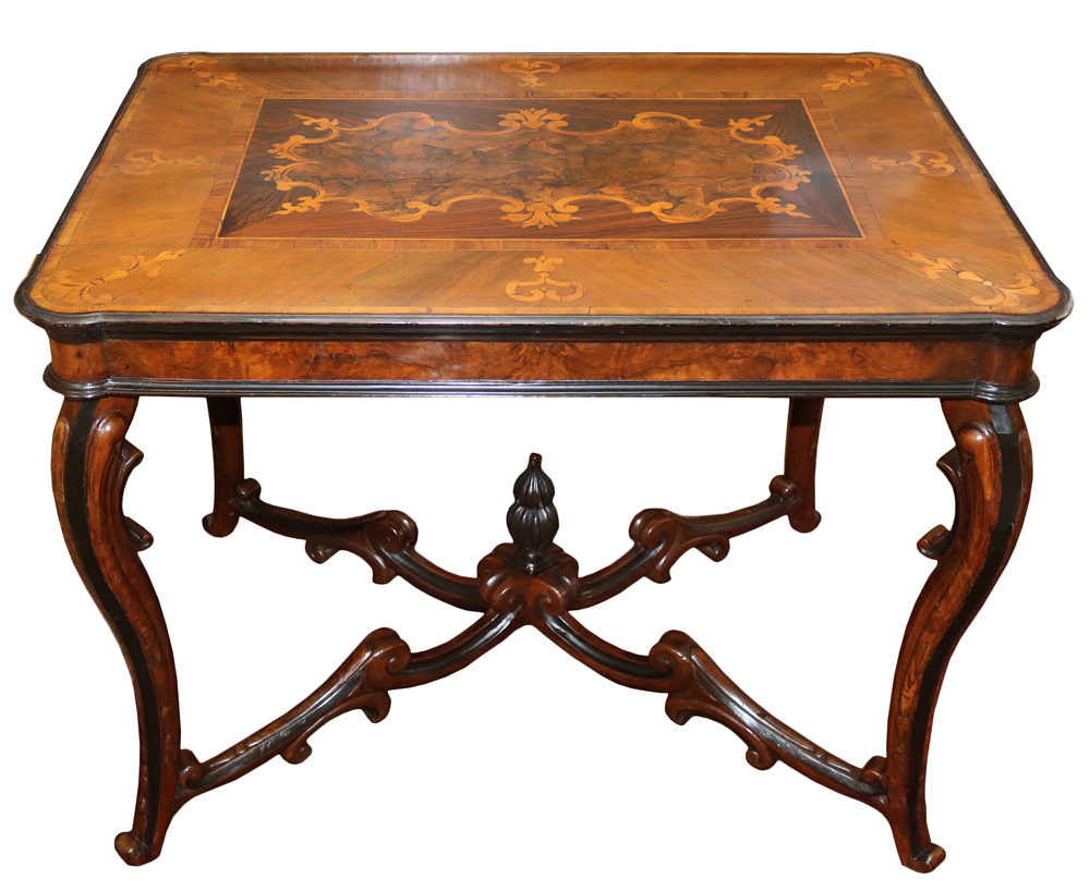 An 18th Century Italian Walnut, Parquetry and Ebonized Table No. 3900
