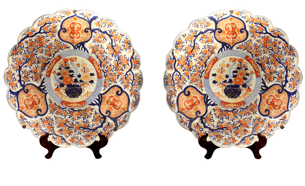A Monumental Pair of 19th Century Japanese Porcelain Imari Chargers No. 4012