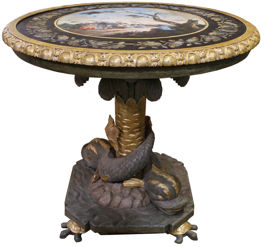 A 19th Century Italian Polychrome and Parcel-Gilt Scagliola Table No. 4033