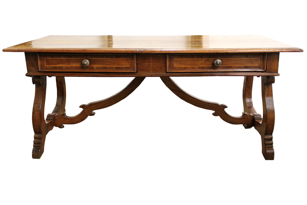 An 18th Century Tuscan Walnut and Satinwood Inlay Partner's Desk No. 4034