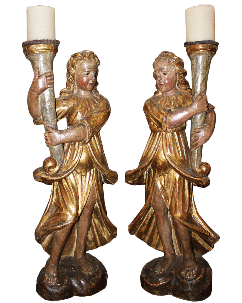 A Pair of 17th Century Venetian Polychrome and Giltwood Angel Torcherès No. 4051