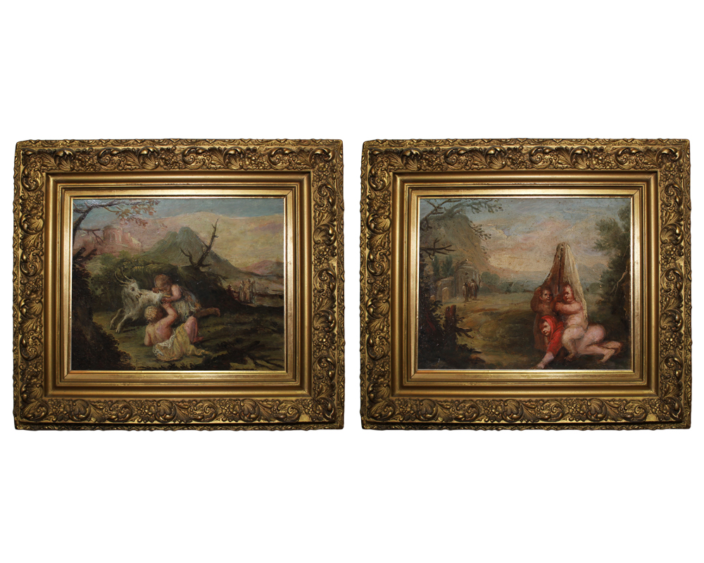 A Pair of Diminutive 18th Century Italian Oil on Canvas Paintings No. 4057