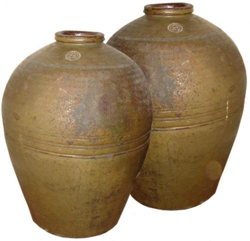 A Pair of 19th Century Green Glazed Burmese Water Jars No. 182