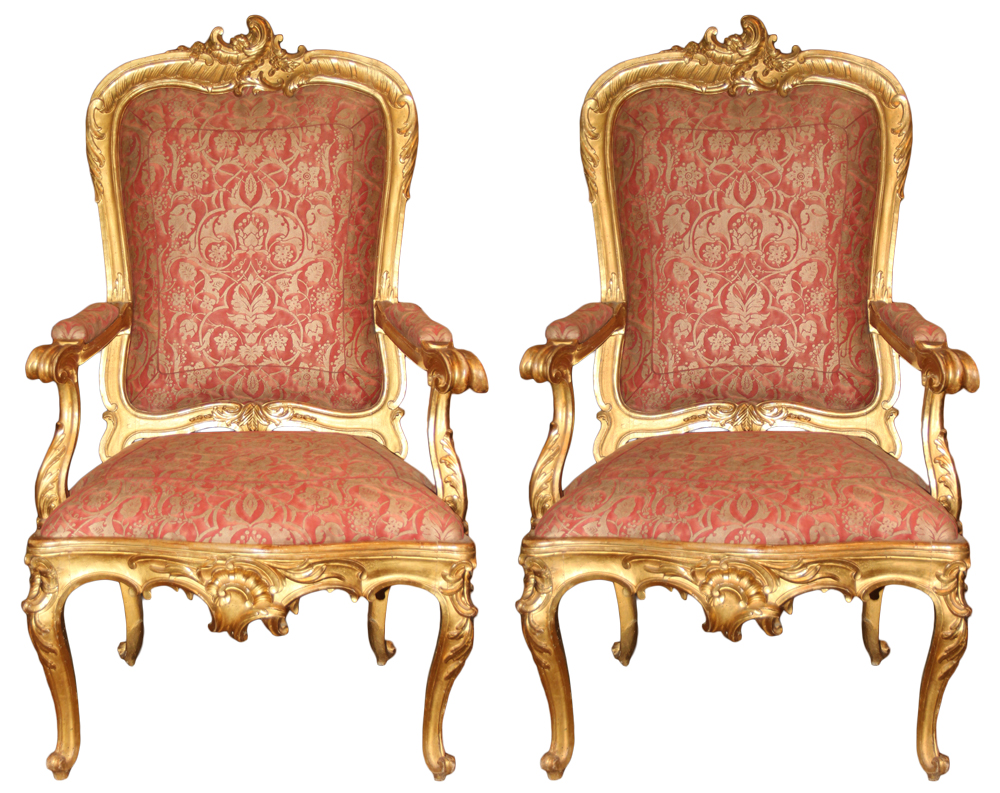 An Exceptional Pair of Roman Louis XV Giltwood Rocaille Fauteuil Armchairs No. 4116