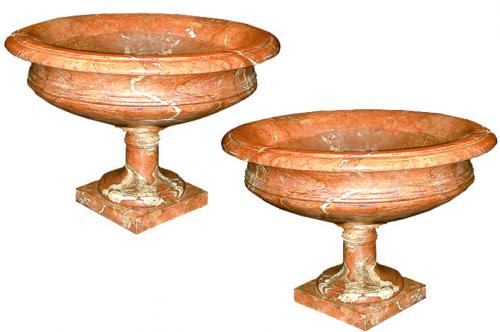 A Pair of 19th Century Peach-Colored Italian Marble Urns No. 94