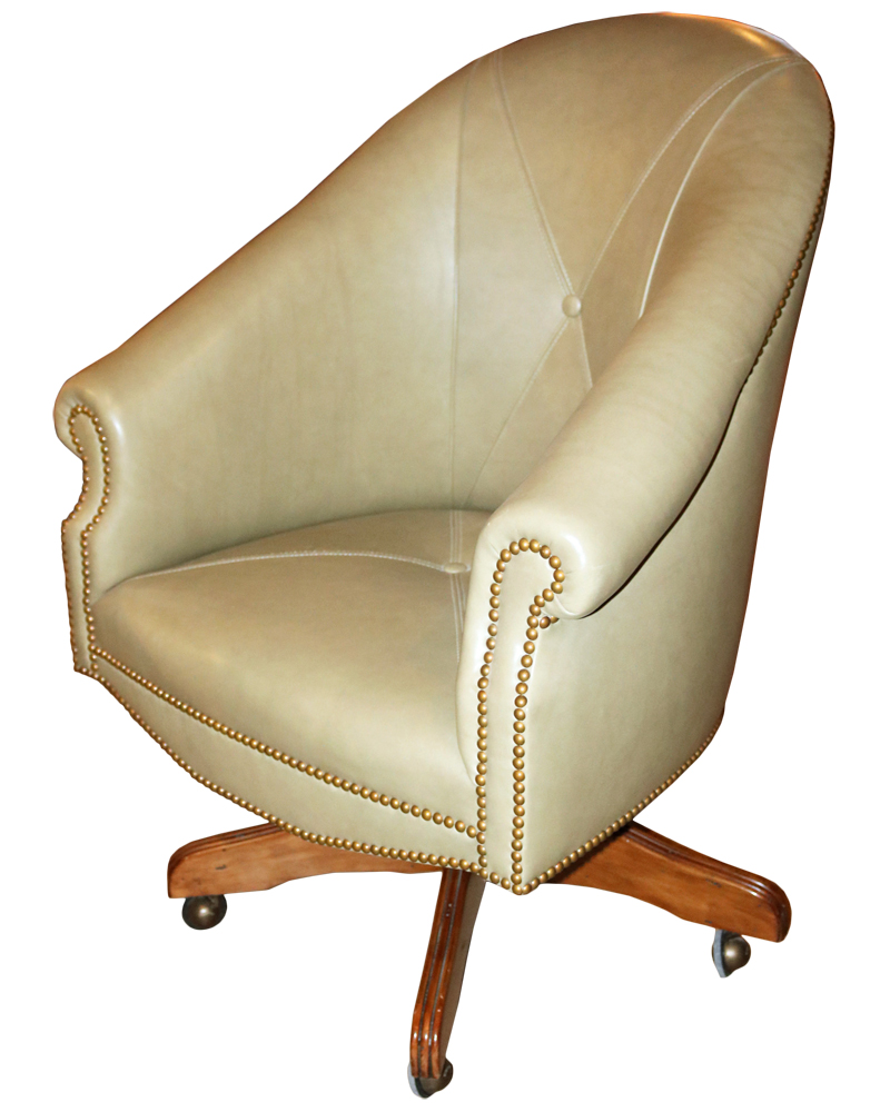 A Custom Adjustable Leather Executive Desk Chair No. 4129