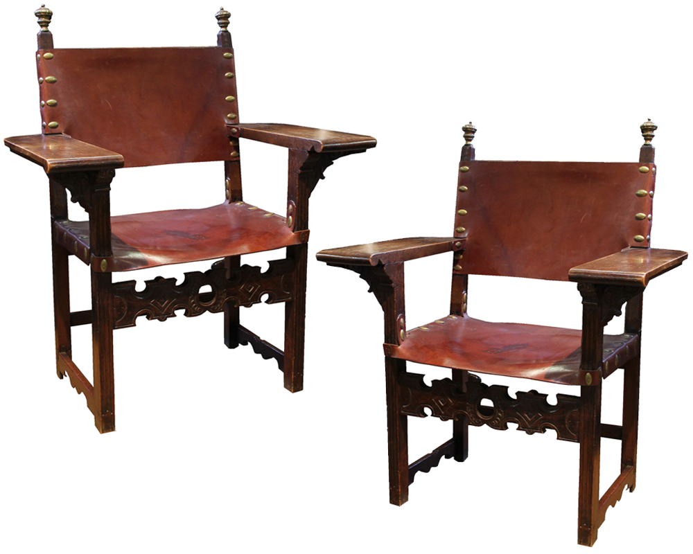 A Pair of Rare 17th Century Spanish Walnut Armchairs No. 4165