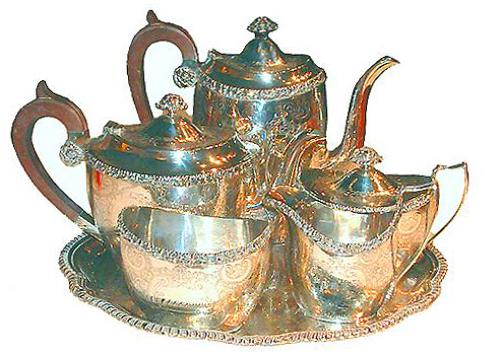 A 19th Century English Six-Piece Silvered Tea Set No. 2490