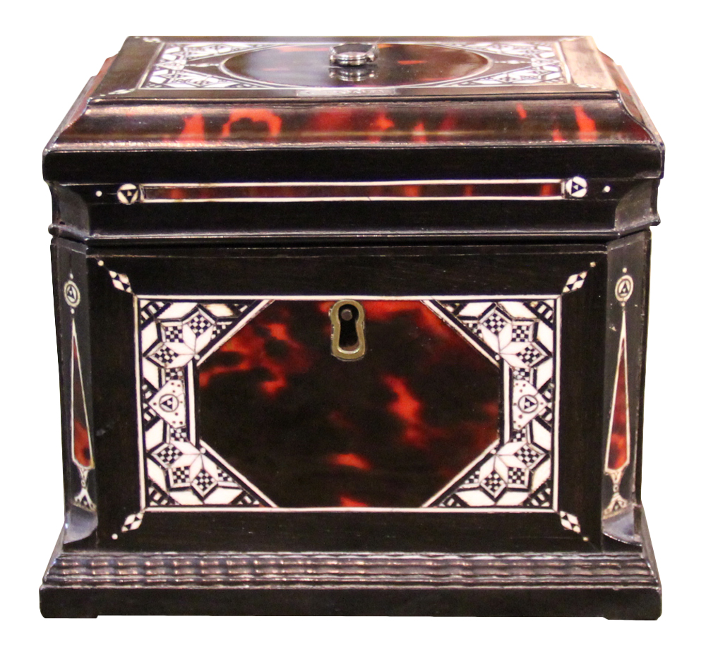 An Early 19th Century Continental Ebony and Bone-Inlaid Red Tortoiseshell Tea Caddy No. 4219