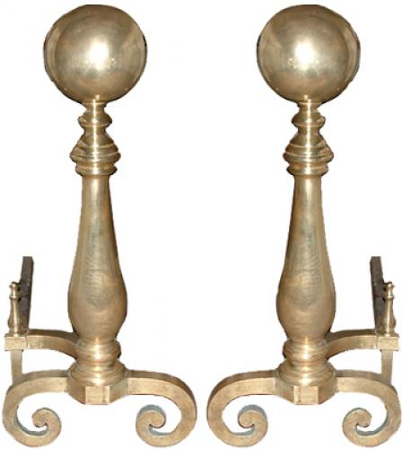 A Magnificent Pair of Late 18th Century French Brass Andirons No. 2444