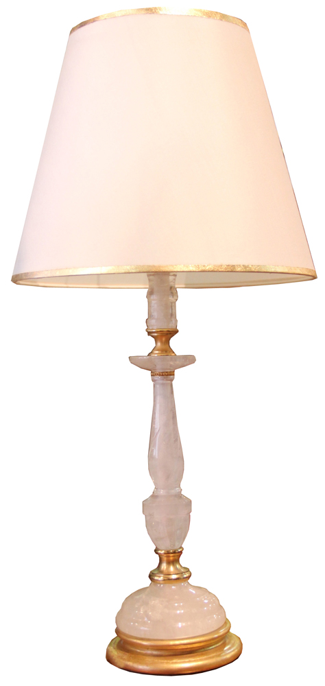 A Rock Crystal Candlestick Now Converted into a Table Lamp No. 4296