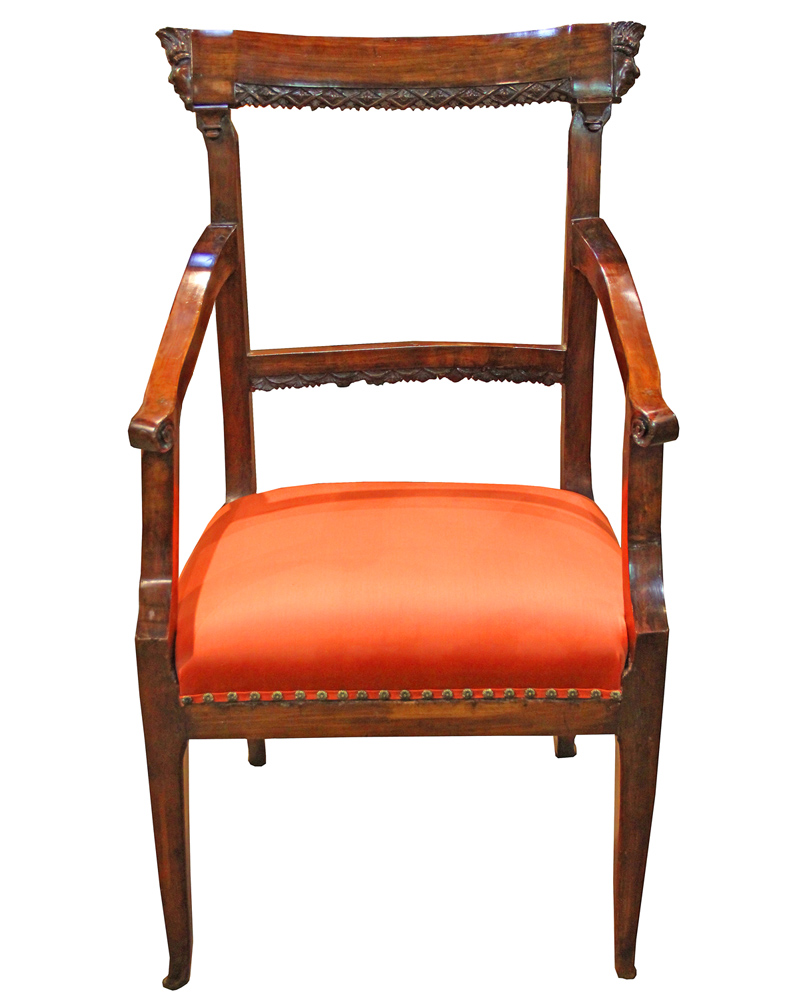 A Last Quarter 18th Century Italian Louis XVI Cherrywood Armchair No. 4300