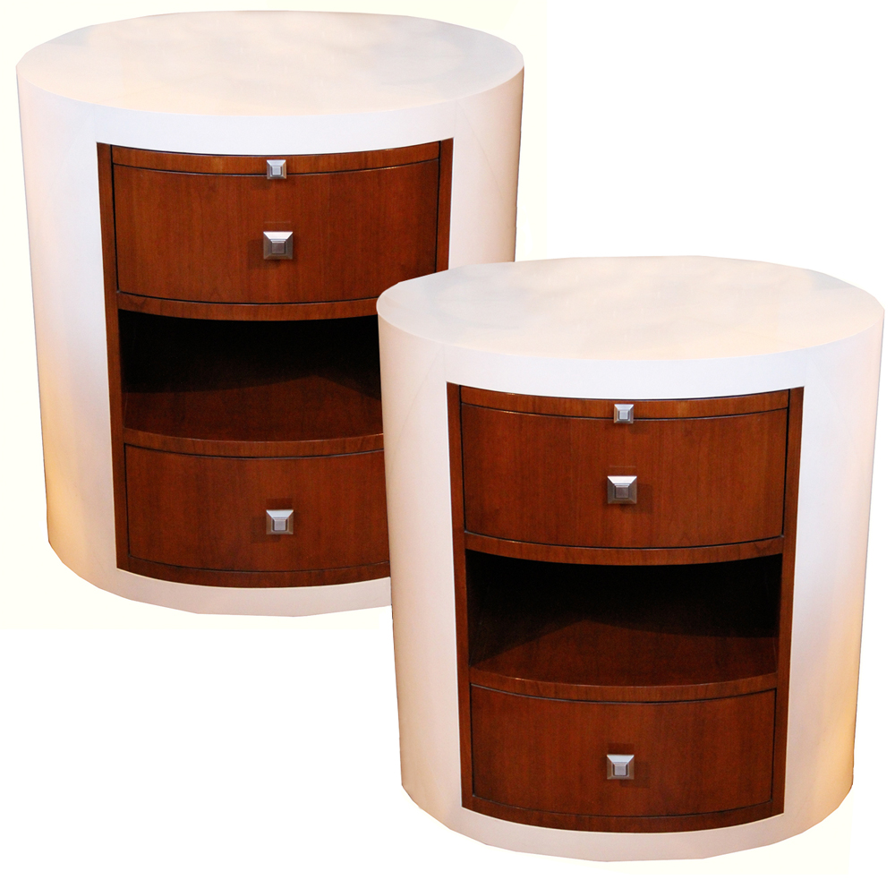 A Pair of Modern C. Mariani Custom Art Deco-Style Mahogany Bedside Tables No. 4364