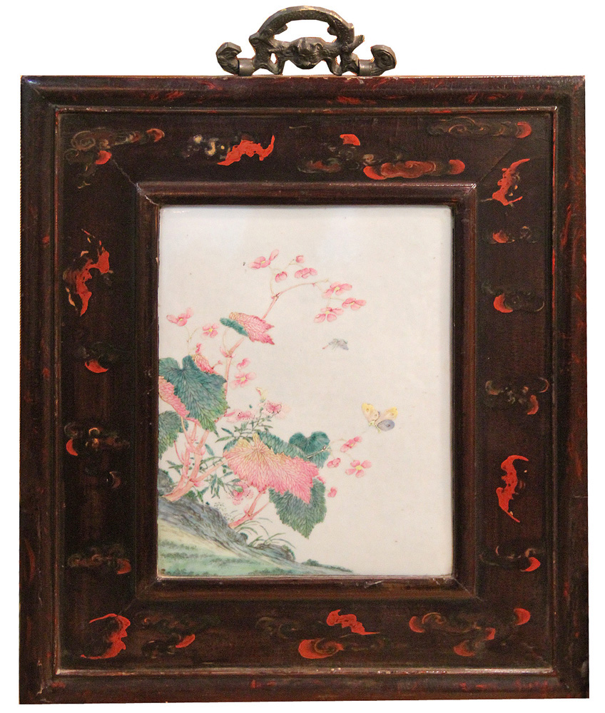 A 19th Century Chinese Hand Painted Porcelain Plaque No. 4382