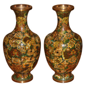 A Pair of Vintage Chinese Enamel and Copper Cloisonné Vases No. 4384