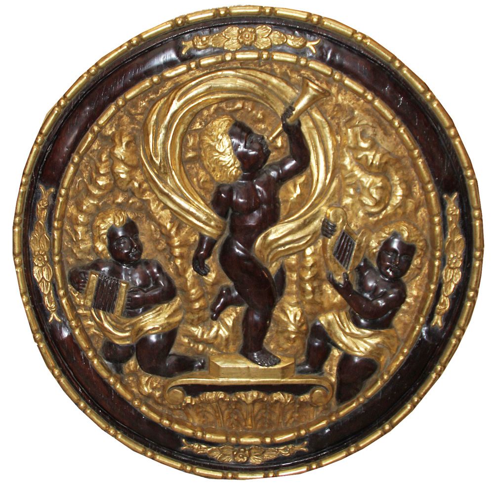 A Large 19th Century Italian Parcel-Gilt and Ebonized Architectural Roundel No. 4412