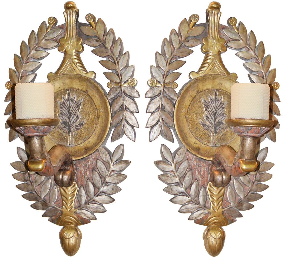 A Pair of 19th Century Italian Mecca-Gilt and Polychrome Sconces No. 4453