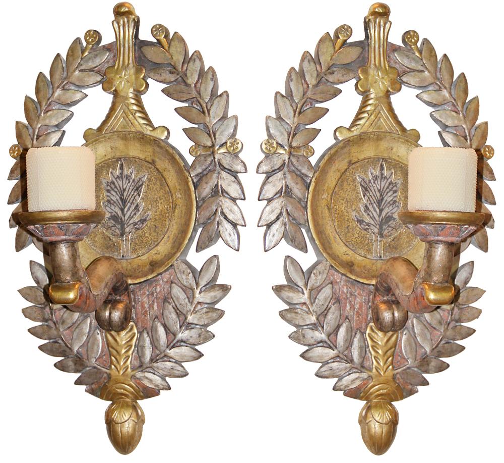 A Pair of 19th Century Italian Mecca-Gilt and Polychrome Sconces No. 4453
