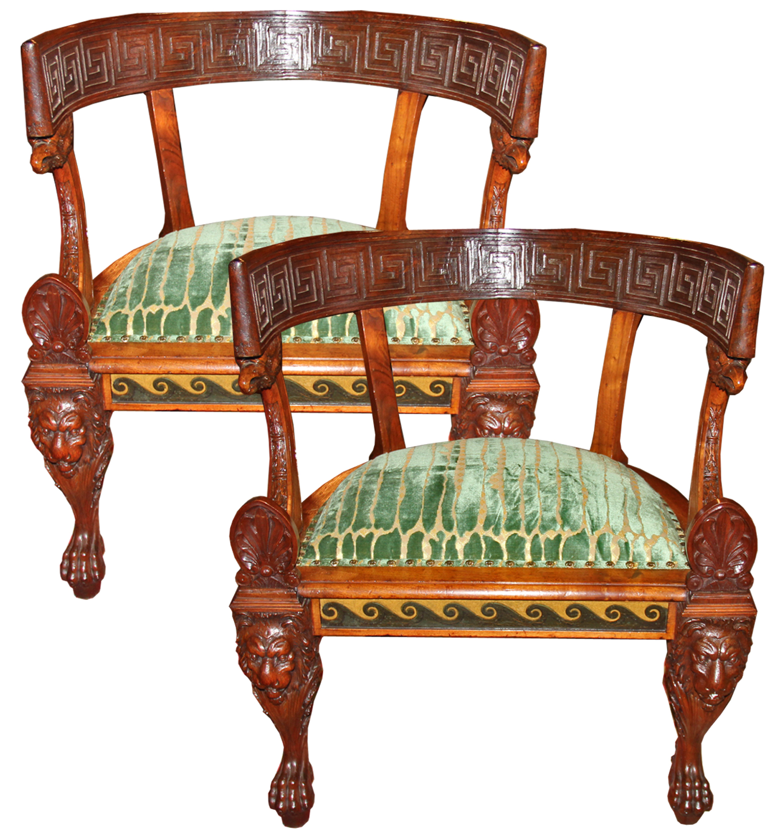 A Rare Pair of 19th Century Italian Neoclassical Rosewood Marquise Chairs No. 4463