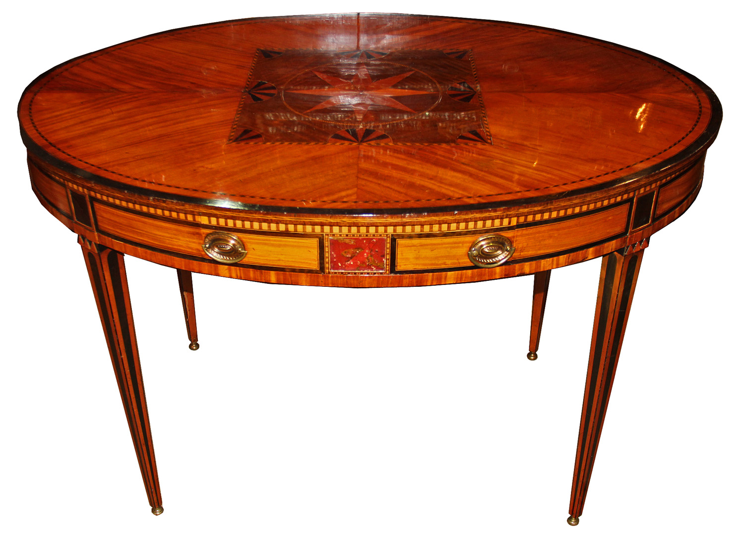A 19th Century Satinwood, Elmwood and Ebony English Parquetry Side or Center Table No. 4464