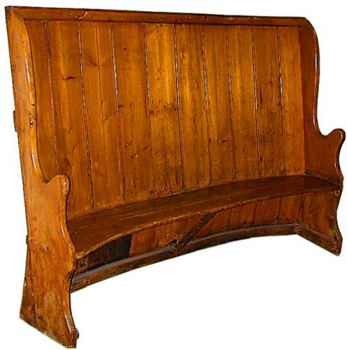 An Unusual 18th Century Country French Pine Monk's Bench No. 632