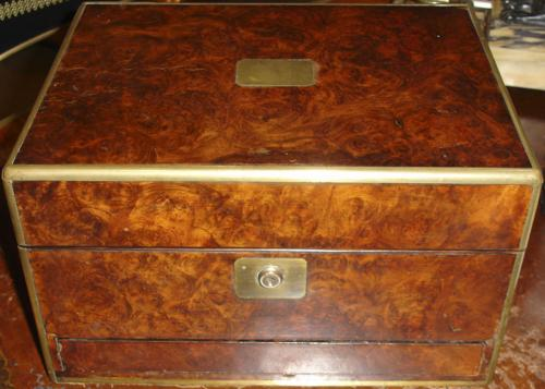 A 19th Century Burl Walnut Fitted Beauty Case No. 296
